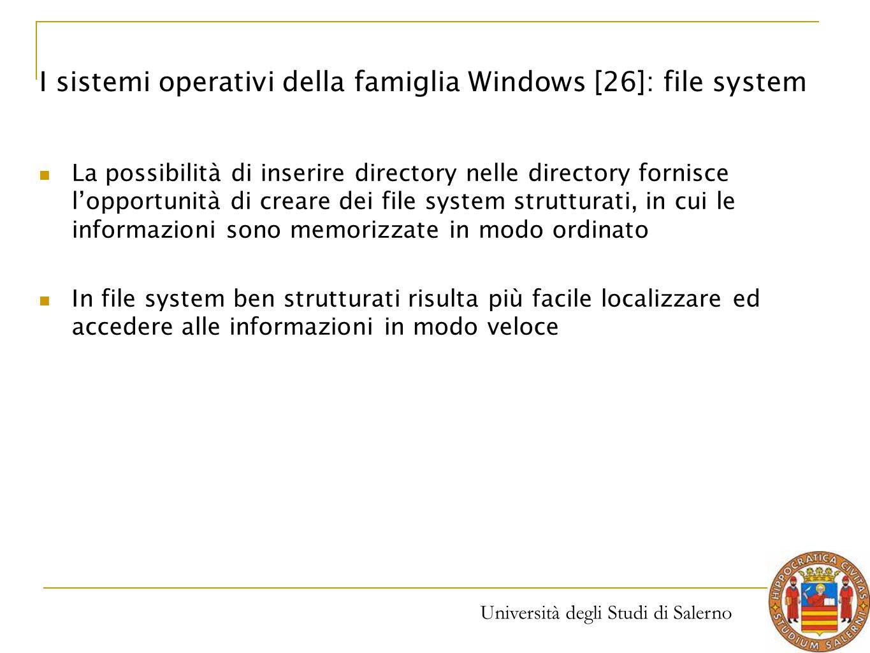 I sistemi operativi della famiglia Windows [26]: file system